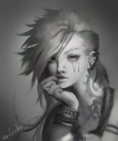 Vi / Black and white practice. by Dandehlionn