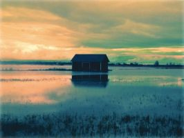 Autumn floods and the field in Finland by Morsoilija