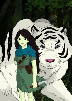 Shoko and tiger by GeovaneMonteiro