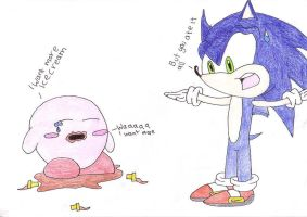 sonic and kirby by rebemci