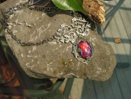 Fire Opal Necklace with hearts entwined Victorian by artistiquejewelry