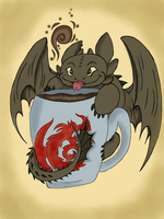 Toothless+Coffee by AlkryEarth17