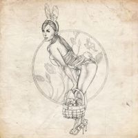 Easter Sketch Pinup Girl by benke33