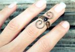 Midi wire wrapped ring with black crystal bead by IanirasArtifacts