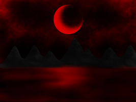 Blood Moon Lake by DragonThunderstorm