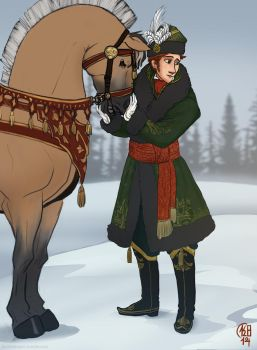 Young Prince Hans in his Winter Hunting Outfit by LeSoldatMort