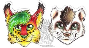 Chibi head badges c: by Drerika