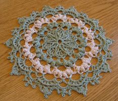 7 3/4 Inch High Texture Sage and Beige Doily by doilydeas