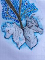 Under the blue tree by DerpyKia
