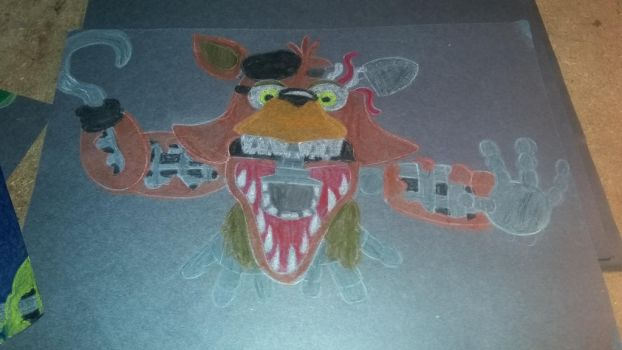 Oil pastel withered foxy by Madfoxy1987