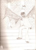 Loki on the step of Dragon Is. by ArtticWitchica