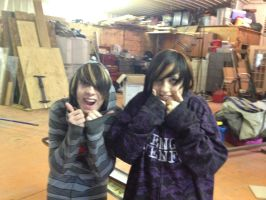 Me and friend ash look like brother and sister... by DarkendDrummer