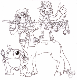 Mythological Duo plus a frog-man (sketch)