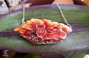 Fox in the Forest necklace by TrollGirl
