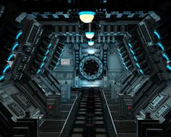 space station hallway by cyberskull34