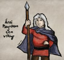 Sketch: Arni Magnusson as a Viking by Callego