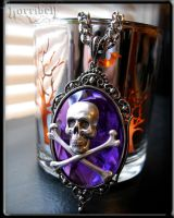 Violet Skull Pendant Necklace by Horribell-Originals