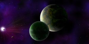big planet and moons by Johndoop