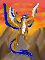 winged dragon on rock by blackfang1994