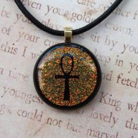 Gold Ankh Fused Glass Pendant by FusedElegance