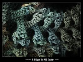 H R Giger Vs M C Escher by psion005