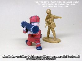 Army Man + papercraft Advance Wars Mech Bazooka by ninjatoespapercraft