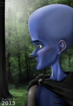 Megamind in the forest (mouse drawing) by eleathyra