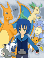 Jun and his pokemon team by mo0on3