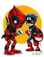 Lil Deadpool 'n' Cap by lordmesa