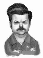 Ron Swanson ( Nick Offerman ) of PandR. by StephaneRoux