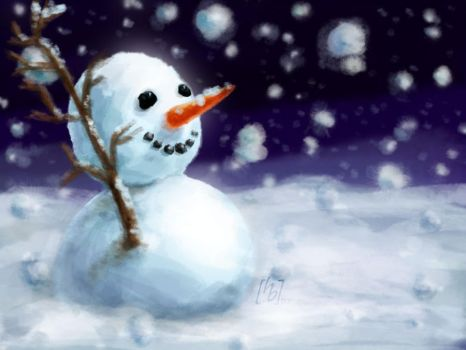 snowman postcard by quill21