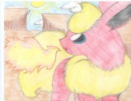 Flareon on the Crevice Cliffs by Wolfie-Forever