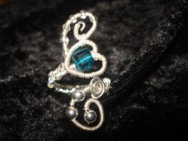Wire wrapped Silver Blue Swarovski Heart Ring by Toowired
