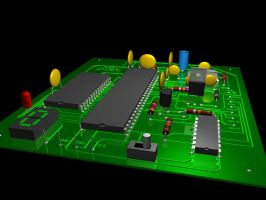 Raytraced PCB (circuit board) by mcsoftware