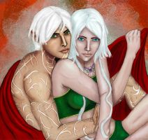 Fenris and Ageha Hawke by Arquen