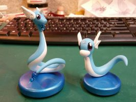 Dragonair and Dratini Painted