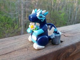 Little Fat Springtime Dragon with Watering Can by LittleFatDragons