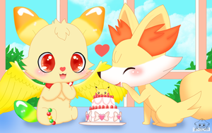 Gumimin And Fennekin by jirachicute28