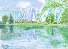 Landscape with Waterfall - Water Colors by GhostHead-Nebula