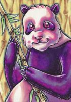 ACEO Purple Panda by thrivis