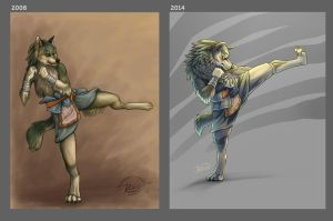 Kickboxing Wolf Link, Before and After by Junryou-na-Kokoro