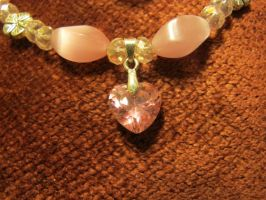 Pink Heart Necklace Closeup 2a by Windthin