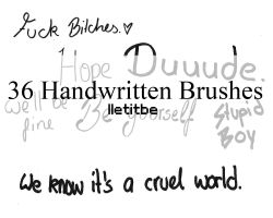36 handwritten text brushes. by lletitbe