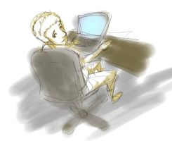 drawing of me using the computer :) by darktofu
