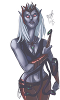 Drow Priestess --WIP Sketch by Mondracon