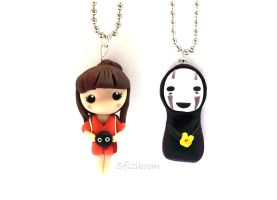 Chihiro and NO-Face pendants, Spirited Away by Sfiziboom