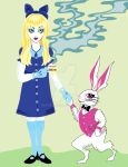 Alice and the White Rabbit have tea. by remdesigns