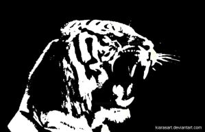 raging tiger stencil by KIARAsART