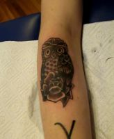 little owl by kama-tattoo