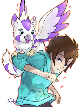 COMM (2/2) : Remy and Gryphairmon by Nekoeri